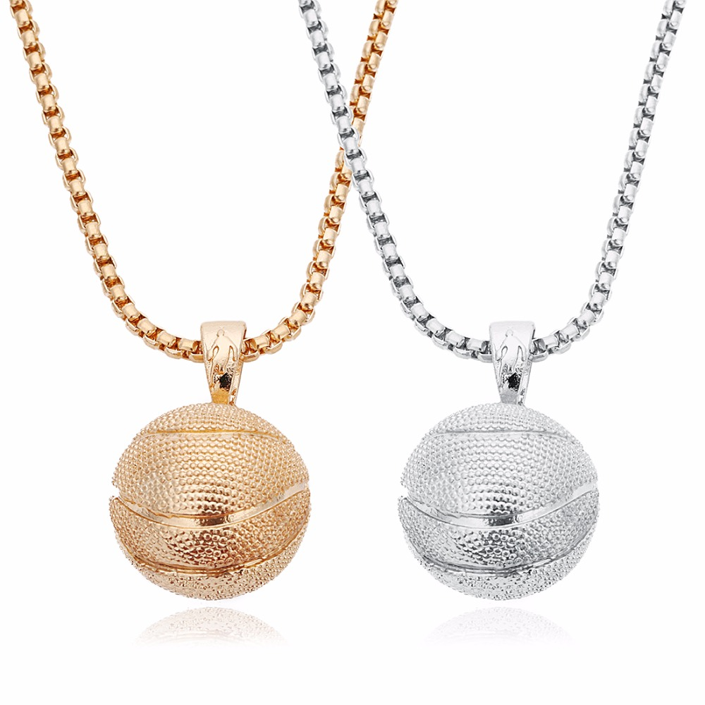 Louleur New Punk Basketball KC Gold/Rhodium Color Pendants Necklaces Stainless Steel Chain Charms Necklaces For Men Jewelry