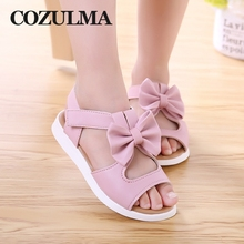 COZULMA Summer Girls Sandals Children Shoes Princess Dress Kids Bowtie Beach PU Leather Size 21-37