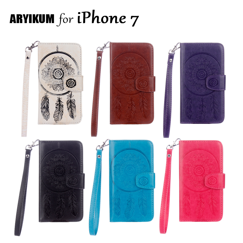 ARYIKUM Dreamcatcher Case For Coque iPhone 7 iPhone7 PU Leather Wallet Flip Stand Back Cover For iPhon7 iPone 7 Case Capinha