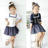 2017 Summer New Children Baby Girls Clothing Set Kids Sailor Collar Shirt Plaid Skirt School Uniform