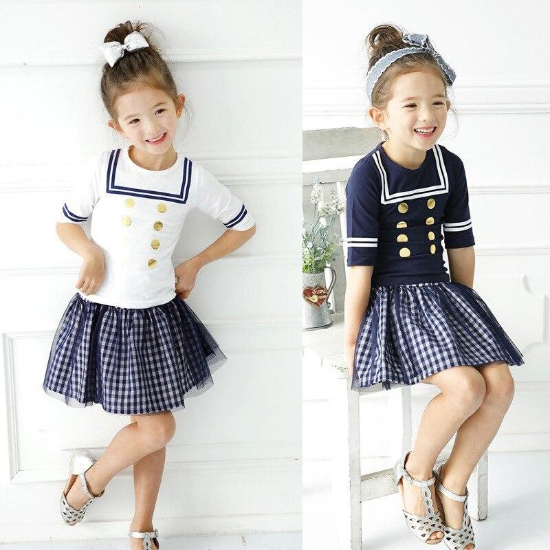 2017 Summer New Children Baby Girls Clothing Set Kids Sailor Collar Shirt+ Plaid Skirt School Uniform Preppy Clothes Suits телефон проводной panasonic kx ts2382ruw