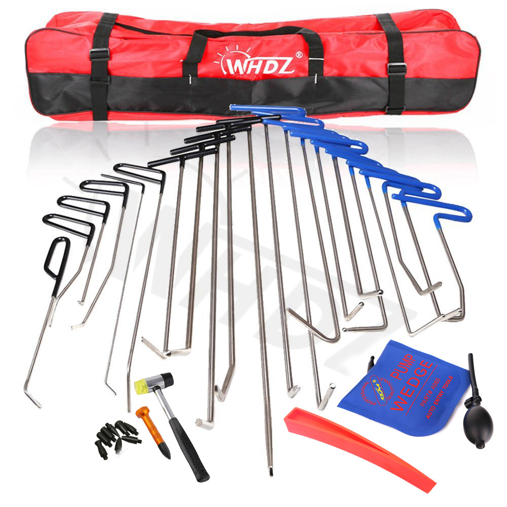 New Auto Body Dent Removal Pdr Rod Tool Kit- Hail and Door Ding Repair Starter Set with pump wedge Rubber Hammer Tap Down Pen pdr rod tool kit set door ding repair hail damage repair with with 9 heads aluminum tap down dent hammer paintless dent removal