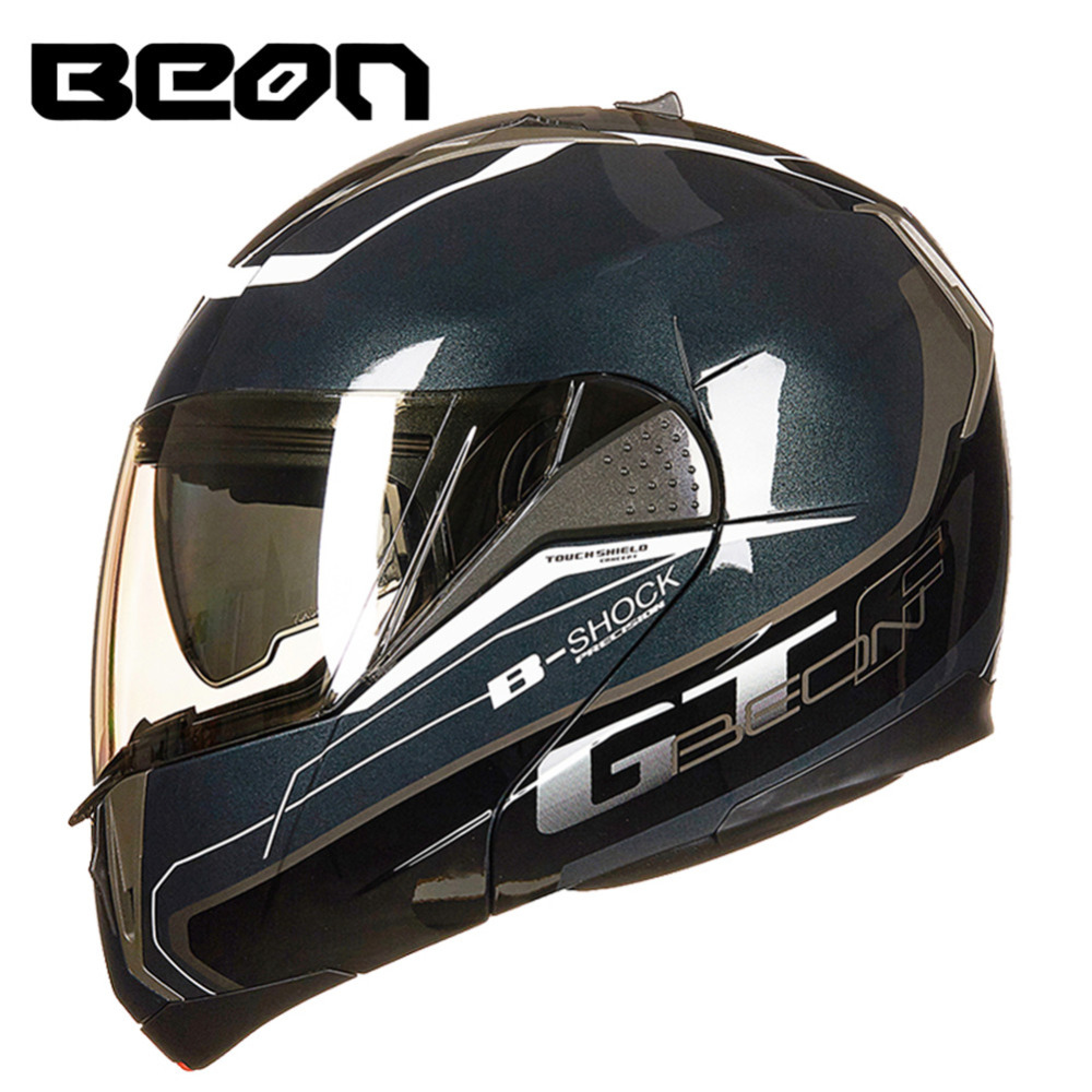 BEON Modulaire Moto Casque Flip up Ouvert Casque Intégral Moto Casque Casco Capacete Double Visières Casques ECE