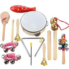 14 PCS Wooden Musical Instruments Set Percussion Toy Rhythm Band Set, Healthy Baby Gift, with A Bag