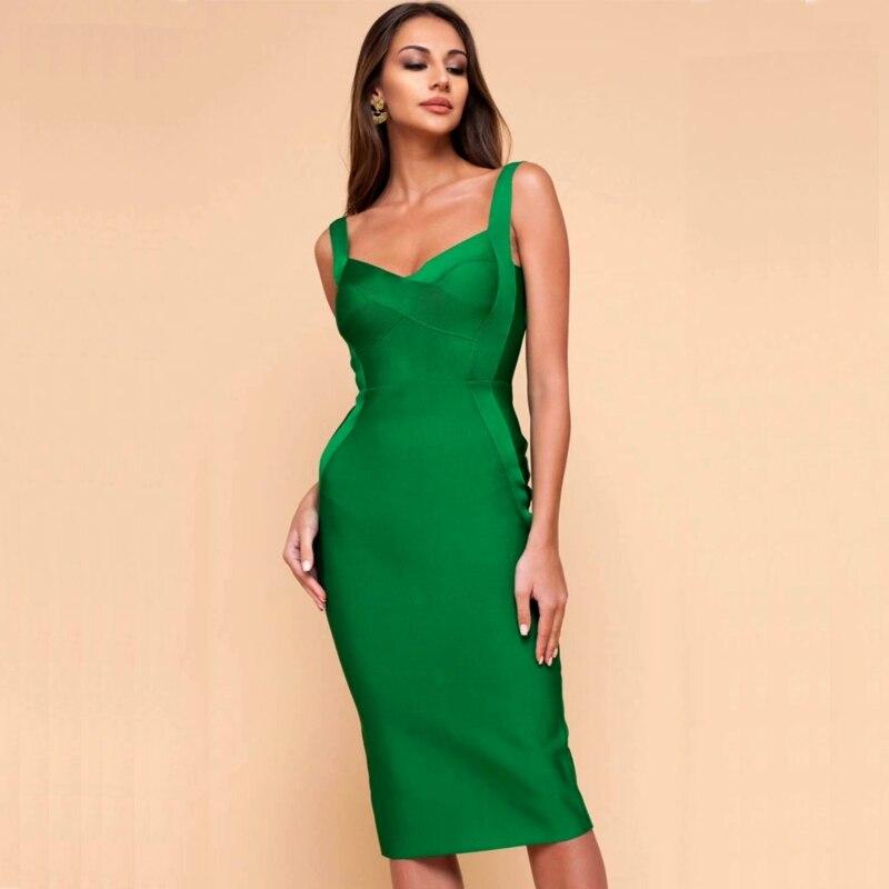100% Wahr Grün Lange Knie Strap Frauen Verband Kleid Neue Ankunft 2019 Sommer Promi Party Kleid Vestidos Sexy Abendkleid + Anzug