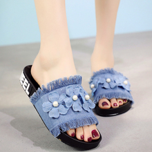 2018 Denim Slides Women Slippers Summer Beach Slide Flat Heels Slipper Flower Woman Shoes Ladies Shoes цена
