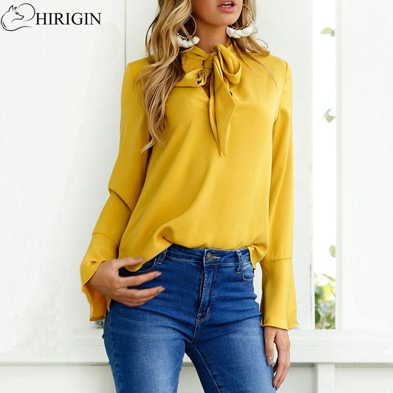 HIRIGIN Fashion Tie Collar Chiffon Blouses Shirts Womens Summer Autumn 2017 Flare Long Sleeve Solid Sexy Blouses Female Tops