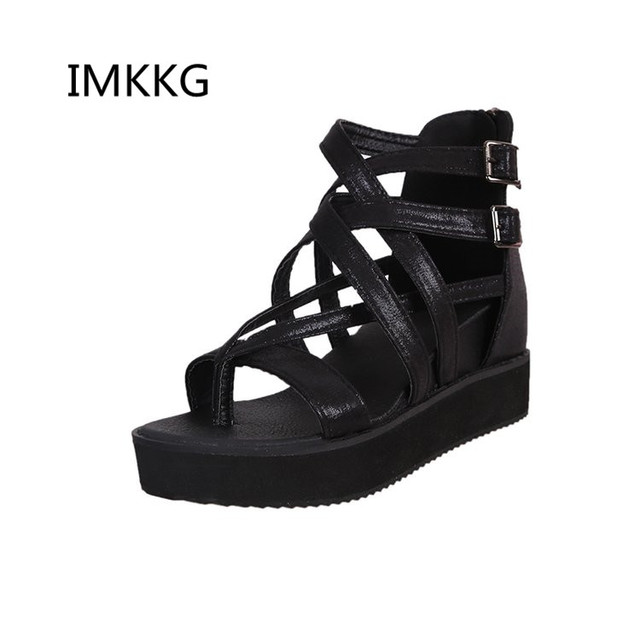 234bff206da Sexy Women Gladiator High Wedges Sandals Women Peep Toe Thick Bottoms Platform  Sandals Summer Party Shoes M074