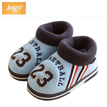 Girls Slippers Children Shoes Winter Cotton Keep Warm TPR Non-slip Sole Slippers For Home Ues Boys Sport Letters Slippers Kids