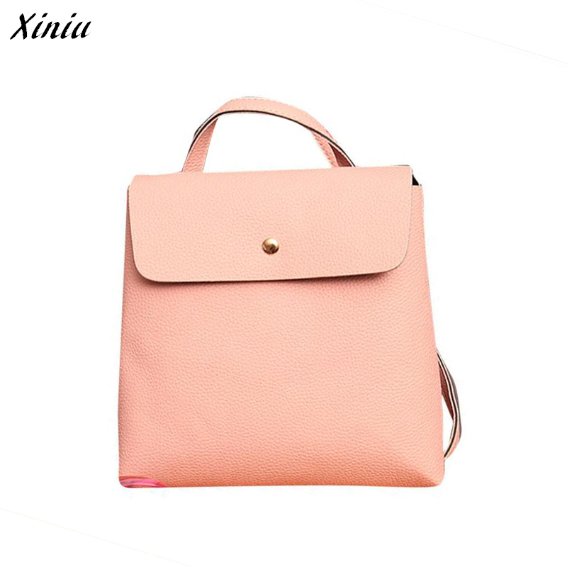 Xiniu Backpack PU Leather Dual Use Bag Women Lichee Pattern Solid Color Backpacks For Teenage Girls Mochila Escolar #1128 12mm waterproof soprano concert ukulele bag case backpack 23 24 26 inch ukelele beige mini guitar accessories gig pu leather
