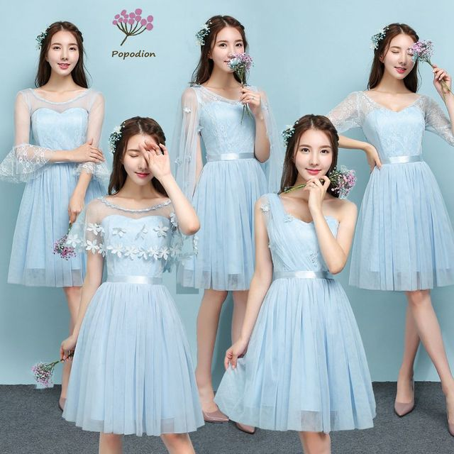 2018 Popodion sky blue color bridesmaid dresses sister wedding party dress  bridesmaids dresses for women ROM80123 acd5354f4040