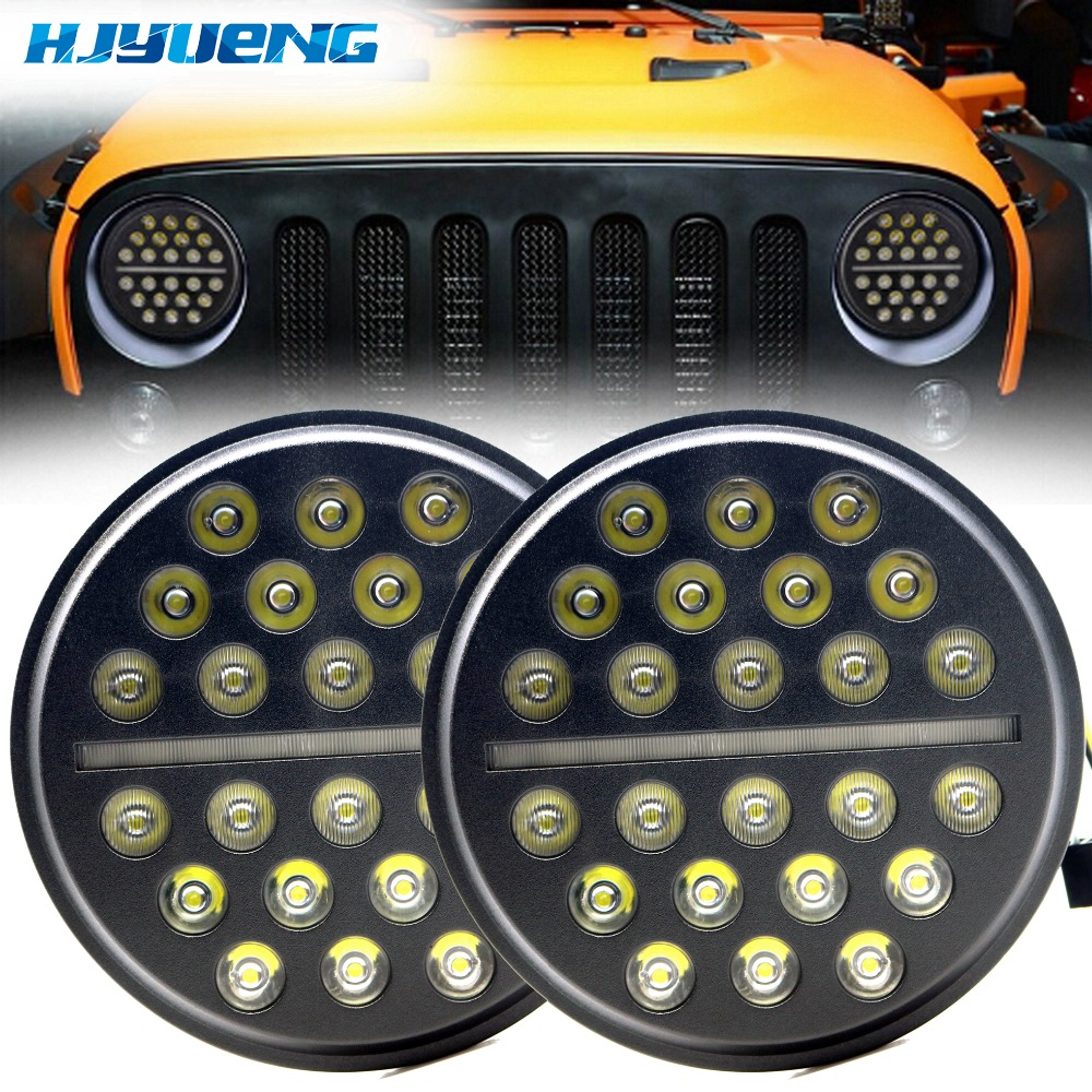 7 Round LED Headlight H4 High/Low beam Auto Headlight With White DRL For Jeep Wrangler JK TJ Hummer Defender tsleen 2 4 8pieces h4 led auto car headlight fog drl rear xenon lamps high low beam light automobiles lamp white 6000k bulb