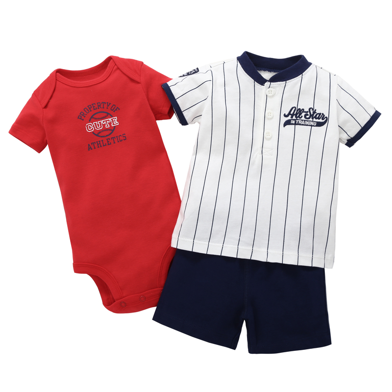 2018 summer casual newbron baby boy Vertical stripes short sleeves tshirt with letter 3 pcs clothes suit cotton romper set