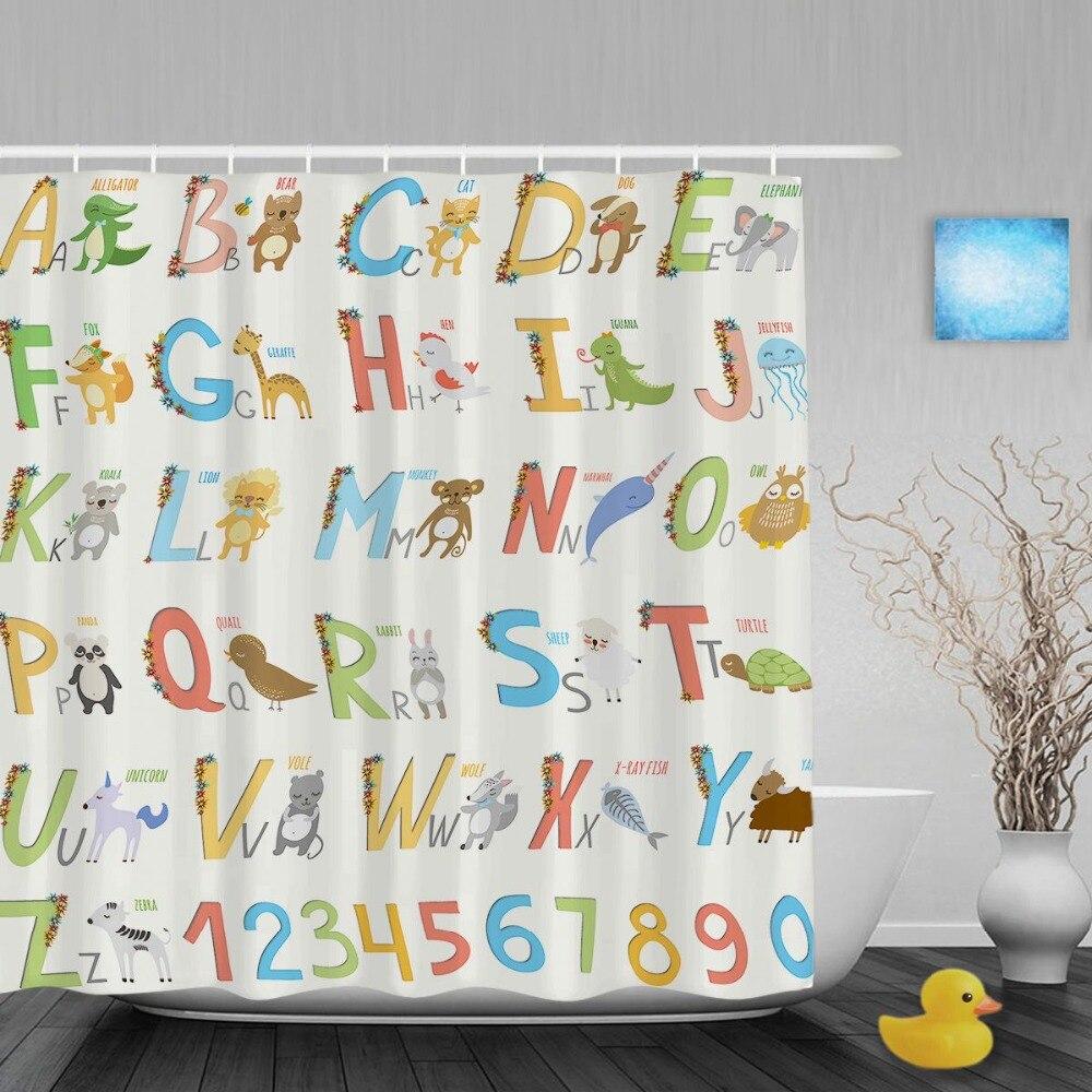 Letras Do Alfabeto dos desenhos animados Design Miúdos Cutains Bonito Do  Berçário Do Bebê Do Chuveiro Do Banheiro Cortinas de Tecido de Poliéster ...