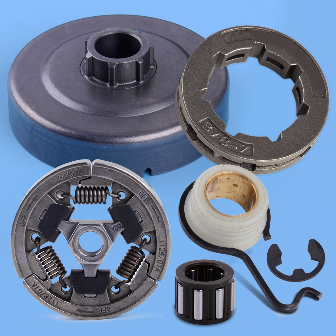LETAOSK Chain Sprocket Clutch Drum Cage Bearing Worm Gear E-Clip Set Fit For Stihl 044 046 MS440 MS460Accessories