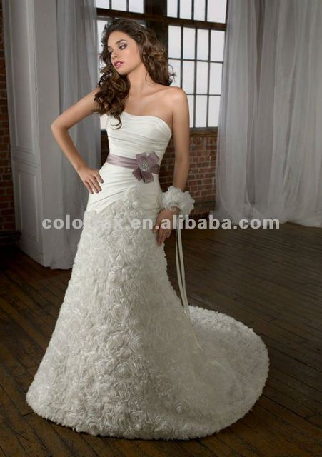 Charming Ruched Bodice Full Roses Floral Trumpet Lace Up Back Long Couture Bridal Wedding Dress Gown
