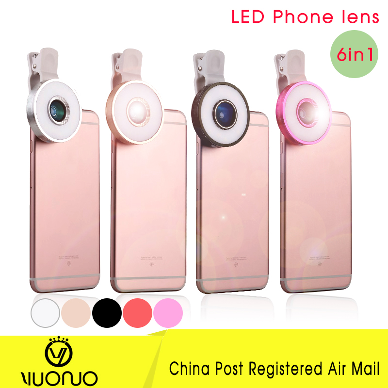 6 in1 Black Phone lens 180 Fisheye lens 0.65 Wide Angle 10 Macro Mobile Phone Camera Lens For iPhone 6 6S plus 5 Color lenses