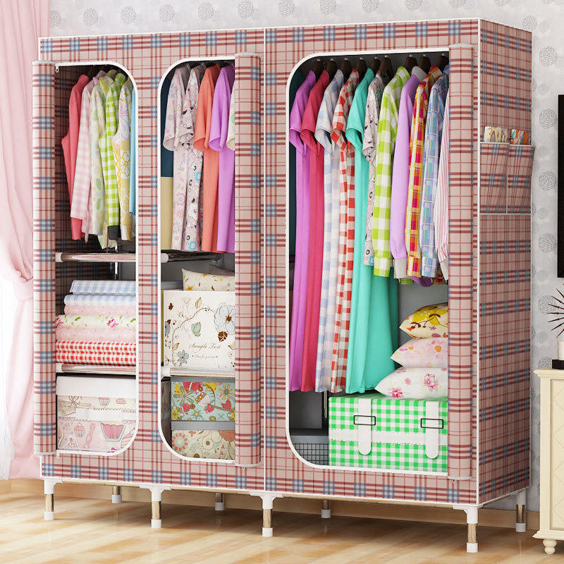 Oxford cloth steel frame large wardrobe sell well Wardrobe Large Simple Home Steel Clothes Storage simple fashion moistureproof sealing thick oxford fabric cloth wardrobe rustproof steel pipe closet 133d