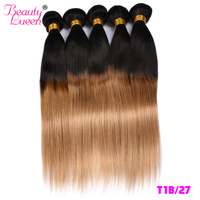 Ombre Blonde Straight 3/4Bundles 2Tone Brazilian Hair Weave Bundles Ombre Red Human Hair Extensions Remy Hair T1B/99J(Burgundy)
