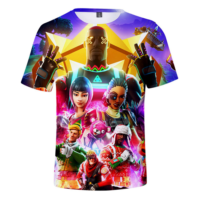New fashion Fortnite fox mask printing t-Shirt men Casual team t-shirts male 3d tshirt swag game t shirts man tops tees FT01