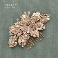 Handmade Bridal Hair Comb Rose Gold Women Hair Accessories Flower Wedding Headpieces Crystal Pearl Comb For