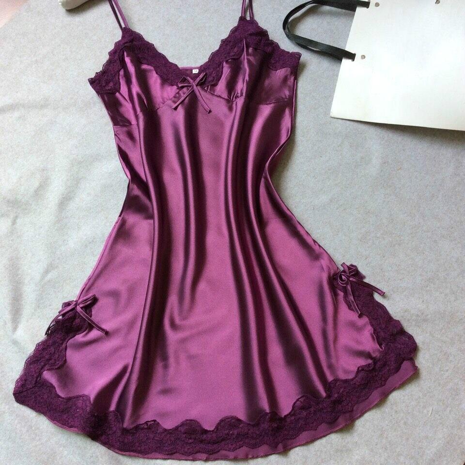 Lingere enagua Mujer Vestidos seda slips negligee solid camisole mujeres camisón completo vestido Lencería slip paño