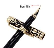 Duke Noble Sapphire Fude Calligraphy Fountain Pen Iridium Bent Nib , Black & Golden Cap Ideal Art Office Home School Supplies цена