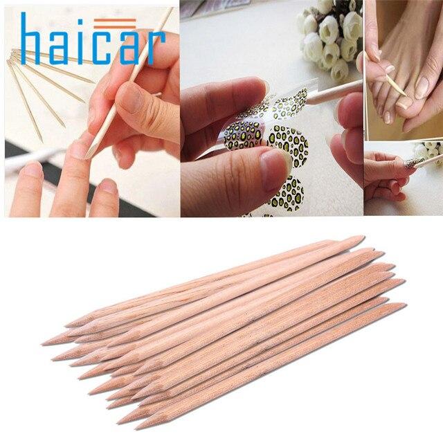 Haicar 20 pcs nail art vara de madeira remover pusher cutícula pedicure manicure ferramenta orange u6706