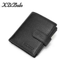 X.D.BOLO Cow Leather Men Short Wallet Fashion Genuine Leather Male Wallet Purse Standard Card Holders Wallets For Men недорого