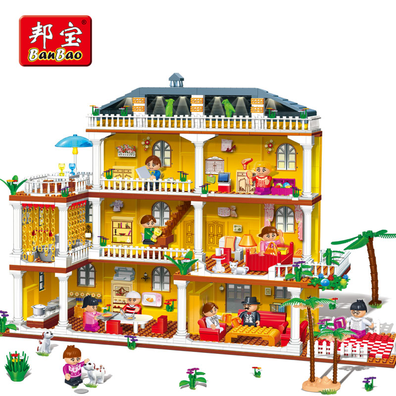 BanBao Villa House Home Blocks Educational Building Bricks Model Toys 8370 For Girls Kids Children Compatible With legoe