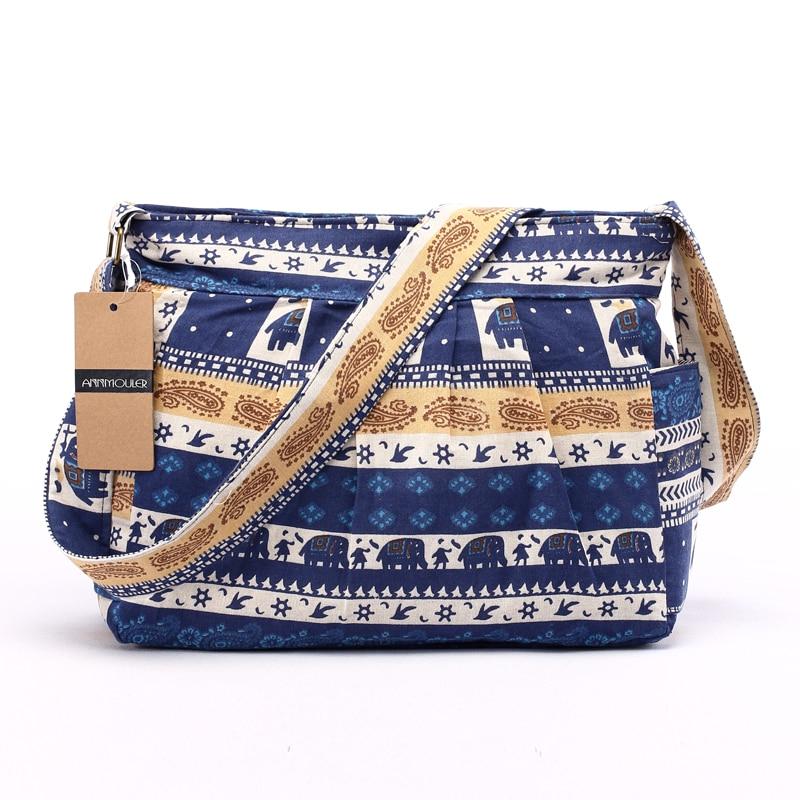 Annmouler grande bolsa de ombro feminina algodão