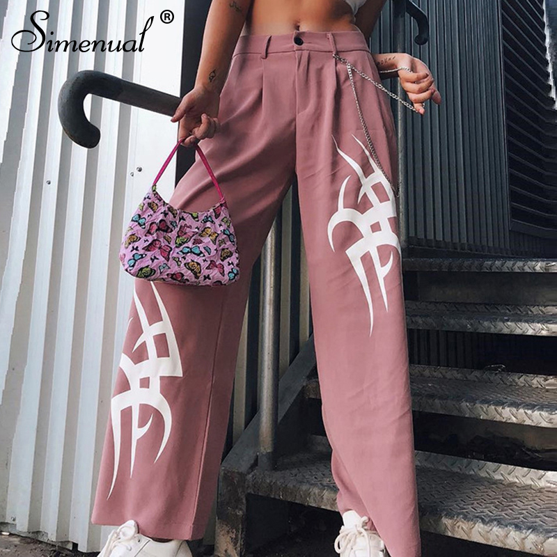 Simenual High Waist Pink   Wide     Leg     Pants   Women Streetwear Casual Trousers Print Pocket Fashion Loose   Pants   Femme Summer Harajuku