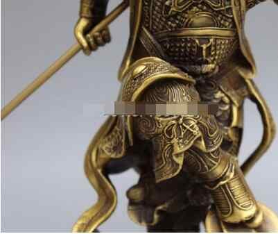 "13 ""Cinese Bronzo Buddismo Sun WuKong Monkey King d'oro cudgel Statua di Buddha"