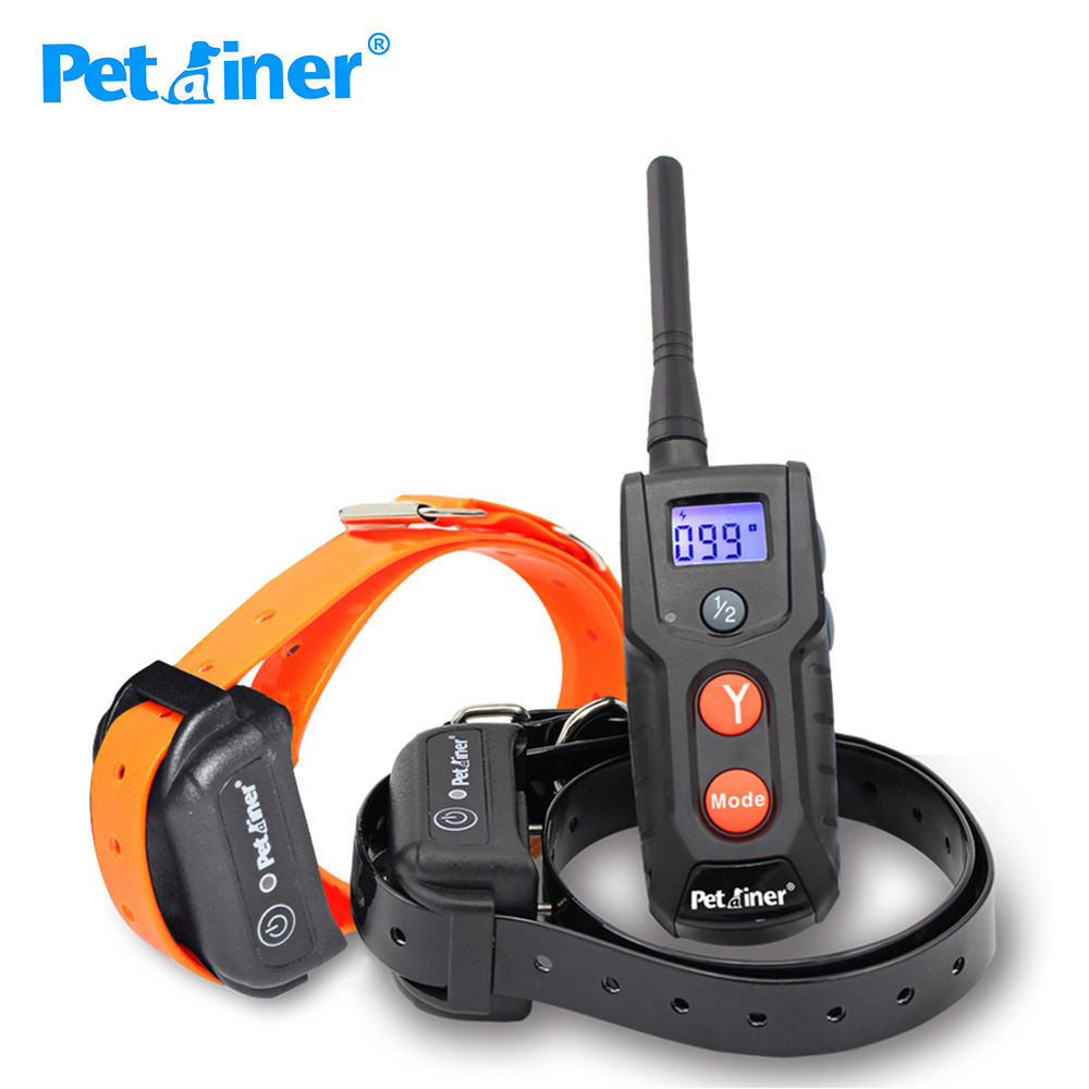 Petrainer 916 2 Pet Dog Training Collar Rechargeable Waterproof Dog Electronic Shock Training Collar with Blue LCD display-in Training Collars from Home & Garden    1