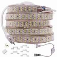 276 leds/m três fileira led strip 2835 220 v 240 v à prova dwaterproof água led fita corda luz branco quente decoração para casa iluminação nova