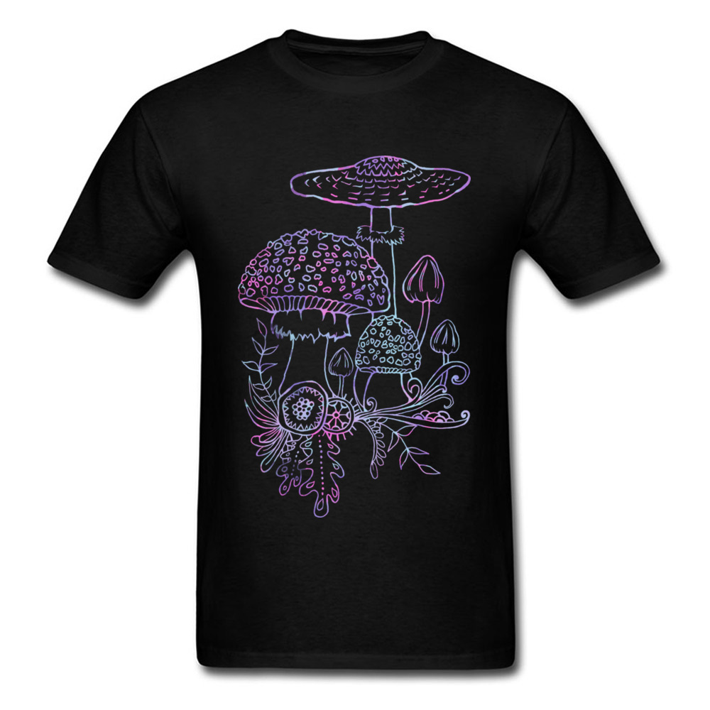 2018 New Coming Men T-shirt Black Tee Shirt Mushroom Cartoon Painting Male Unique Street Fashion Tops Personalized