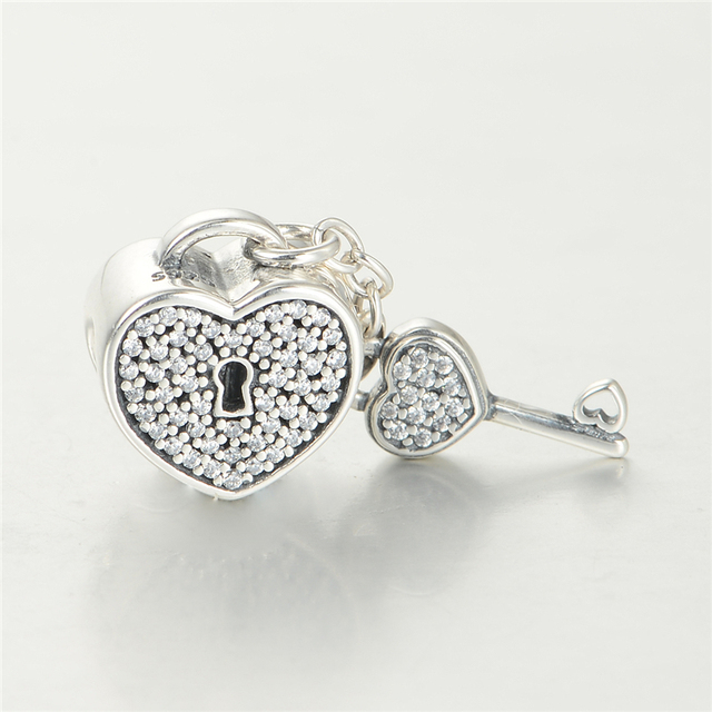pandora charm heart lock and key