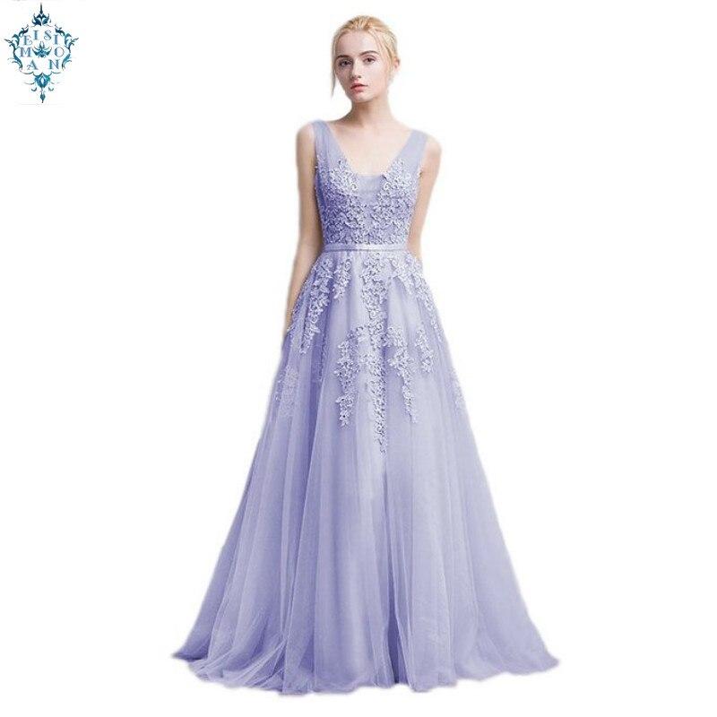 Ameision Vestidos de festa Robe De soirée Robe de soirée avec dentelle Appliques longue Tulle fête robes De soirée 2019 rose bleu marine