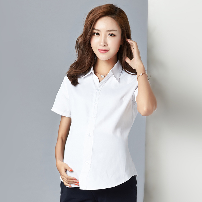 Pregnant women spring summer long-sleeved shirt V-collar pregnant women working clothes professional shirts maternity clothing