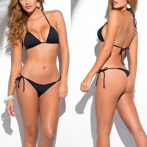 765a501e97 Solid Black Classic Thong Bikini Women's Swimwear Summer Beach String Bikinis  Sexy Female Bathing Suits Solid