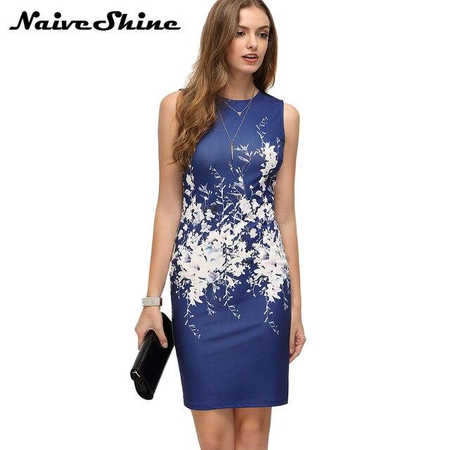 f390cc7f08 Naive Shine Womens Elegant Vintage Casual Print Flower Summer Dress  Sleeveless Mini Sexy Pencil Blue Club Party Dresses vestidos
