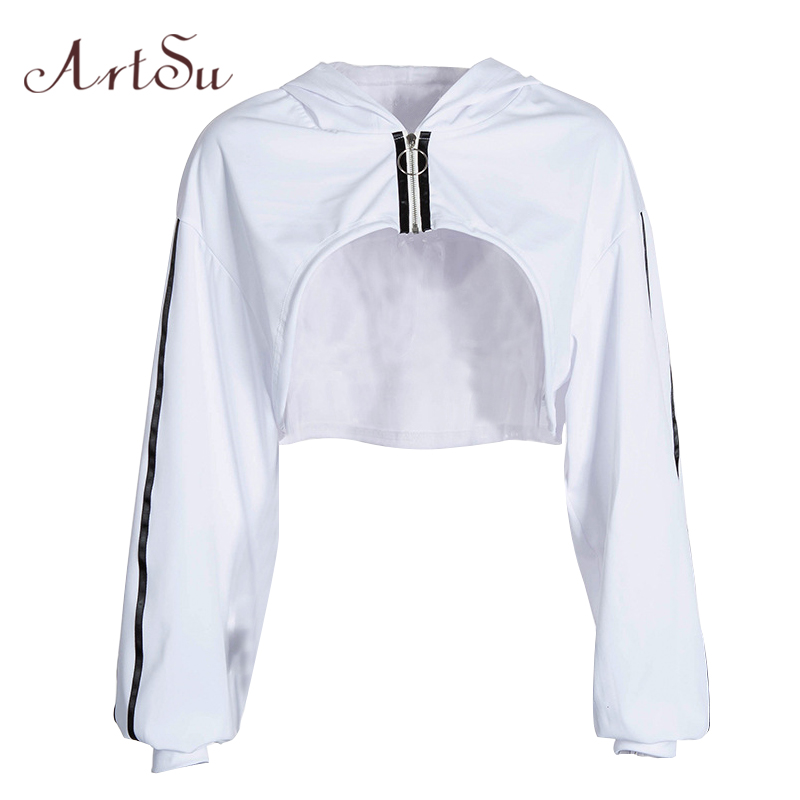 ArtSu Spring White Oversized Sweatshirt Crop Woman Hoodies Long Sleeve Hoody Casual Hooded Clothes Streetwear Sudadera ASHO20342