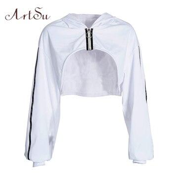 987900984d85 ArtSu primavera blanco de gran tamaño Sudadera Crop mujer sudaderas con  capucha de manga larga Casual ropa con capucha Streetwear Sudadera ASHO20342