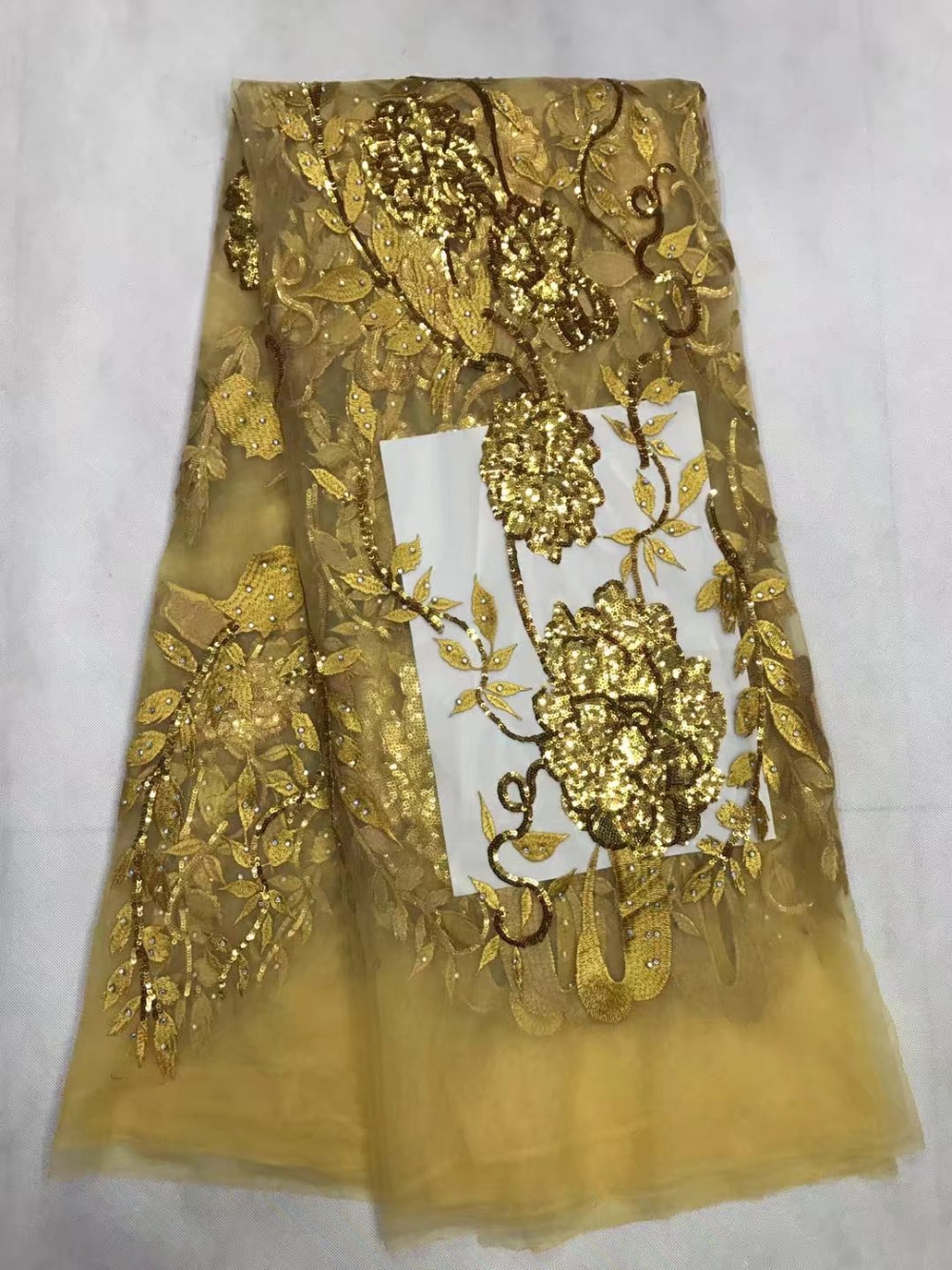 Guldfärg överallt Sequins 5 Yards Afrikanska franska Lace Tulle - Konst, hantverk och sömnad