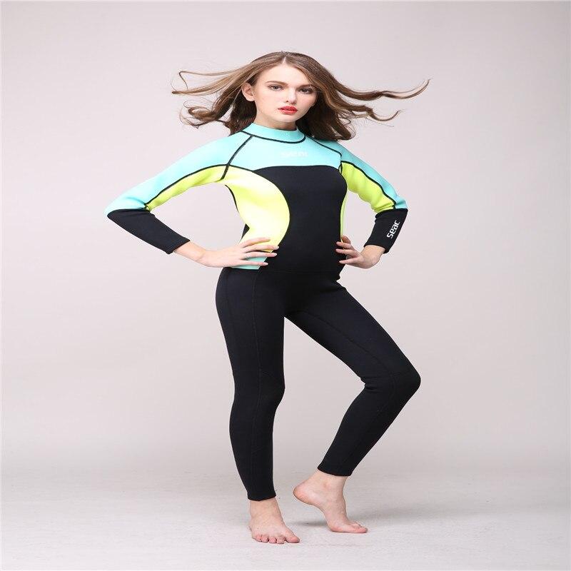 HISEA 3MM Neoprene Women Long Sleeved Wetsuit Snorkeling One Piece - Սպորտային հագուստ և աքսեսուարներ - Լուսանկար 6