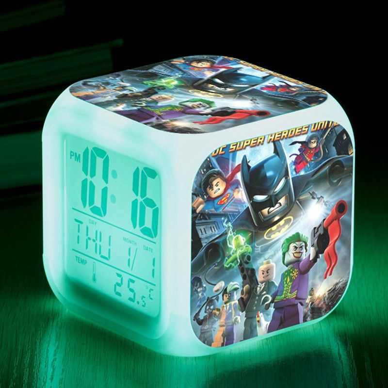 Светодиодные часы Lego Movie DC комиксы супер героев Лига Справедливости против Bizarro League светодиодный цифровой детский будильник игрушечные часы