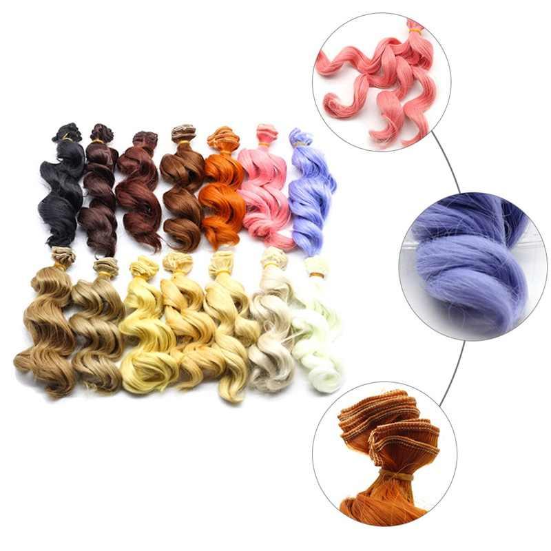 חם 15cm טמפרטורה גבוהה גל גדול בעבודת יד בד בובת פאות DIY Texitle בובת תלתל שיער