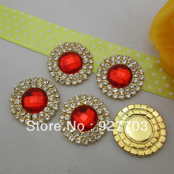 (CM465 25mm)100pcs Red Acrylic Crystal Rhinestone Round Diamante Cluster For Gift DIY Craft