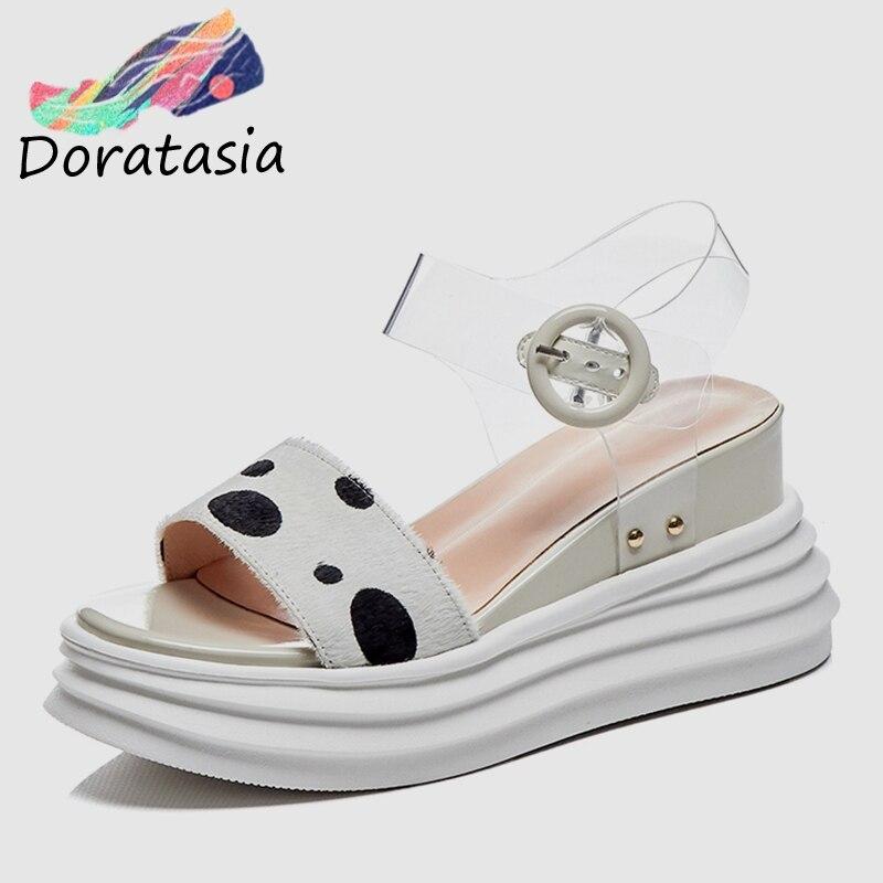 DORATASIA 2019 Brand New Dolce Polka Dot Sandali Della Piattaforma Delle Donne di Estate Genuino Sandali di Cuoio Delle Donne Dei Cunei Scarpe Da Donna-in Tacchi alti da Scarpe su  Gruppo 1