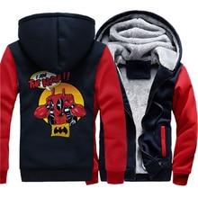 2019 thicken zipper sweatshirts Deadpool cartoon print cotas winter warm wool liner Men jackets long sleeve male hip-hop hoodies